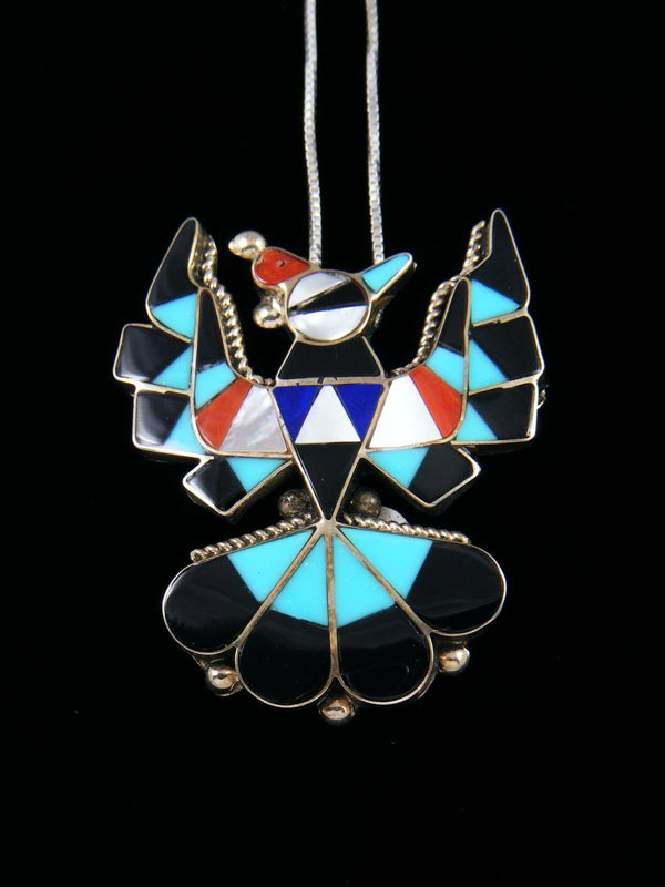 Sterling Silver Zuni Inlay Thunderbird Pendant