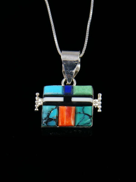 Navajo Sterling Silver Turquoise Reversible Inlay Yei Pendant
