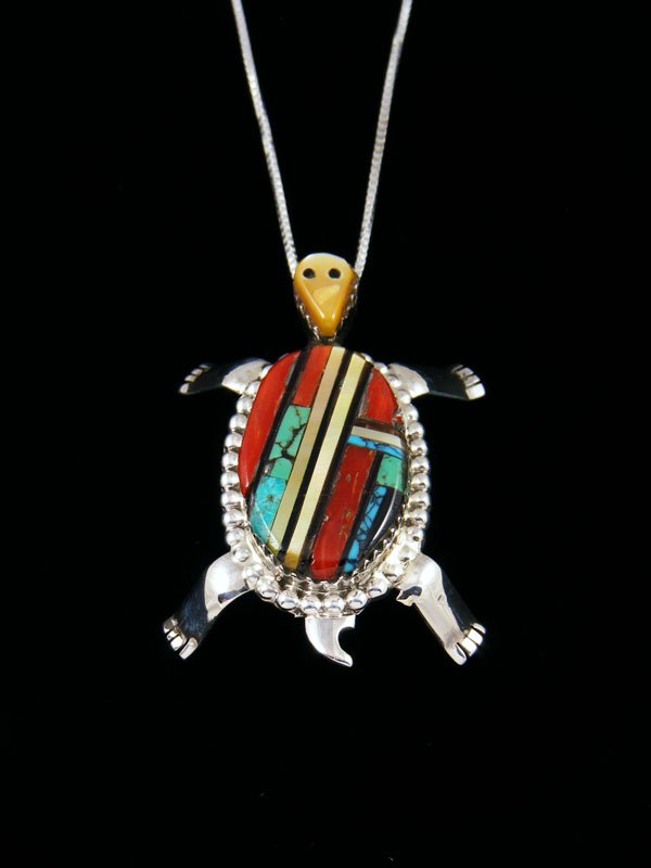 Native American Sterling Silver Zuni Inlay Turtle Pin/Pendant
