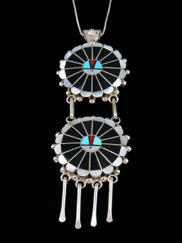 Sterling Silver Zuni Mother of Pearl Sunface Pendant