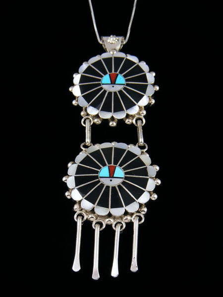 Details about  /Zuni Indian Sterling Silver Sunface Inlay Pin//Pendant by Abel Soseeah