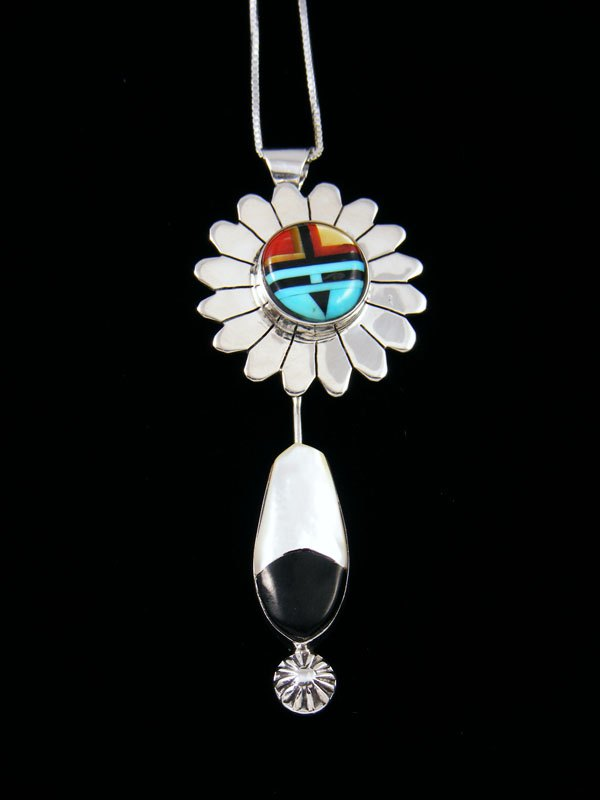 Zuni Mother of Pearl Sunface Inlay Pendant