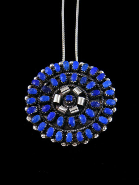 Lapis Cluster Sterling Silver Zuni Pin Pendant