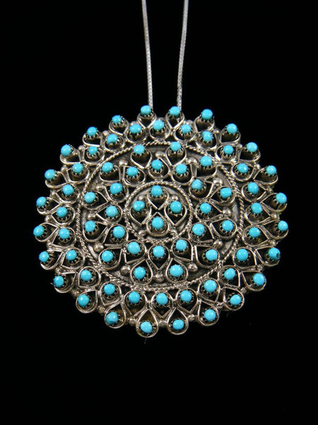 Turquoise Cluster Sterling Silver Zuni Pin Pendant