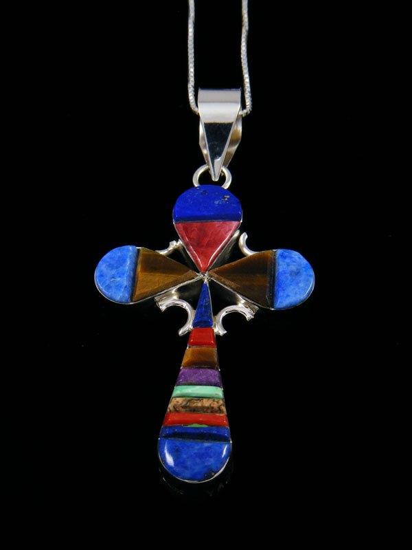 Native American Reversible Turquoise Inlay Cross Pendant