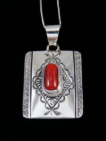 Native American Red Coral Sterling Silver Pendant