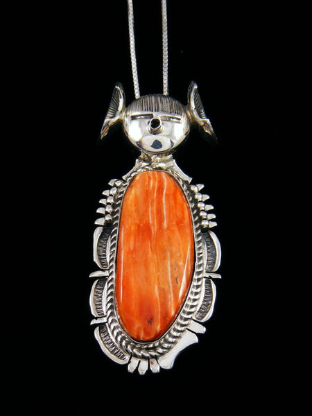 Native American Sterling Silver Spiny Oyster Kachina Pendant