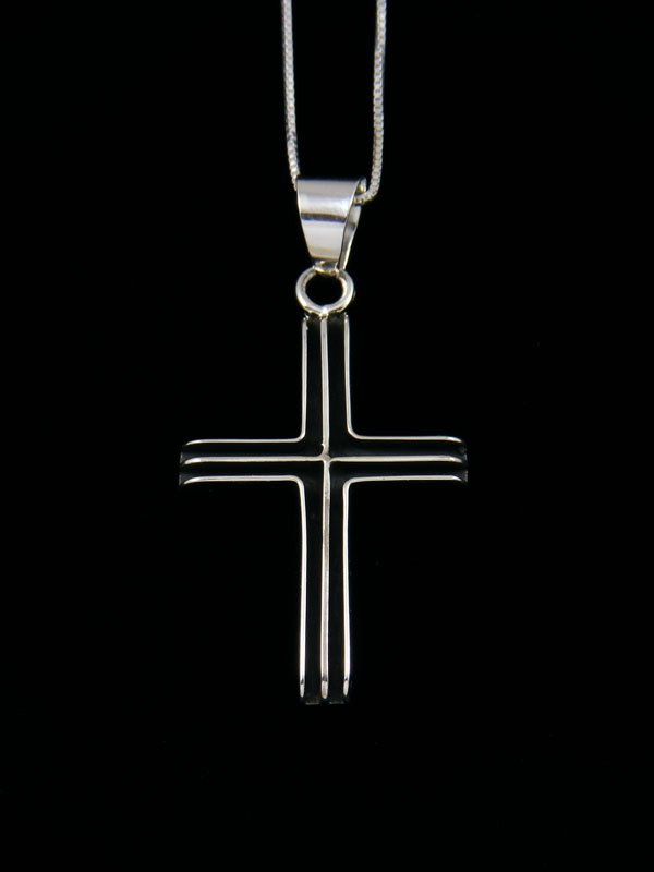 Navajo Sculpted Sterling Silver Cross Pendant