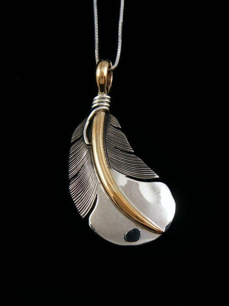 Native American Sterling Silver and 12kt Gold Feather Pendant