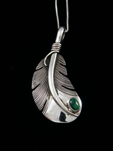 Native American Sterling Silver Malachite Feather Pendant