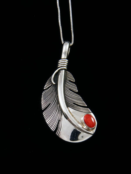Native American Sterling Silver Coral Feather Pendant