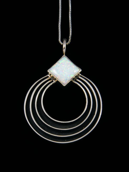 Navajo Sculpted Sterling Silver Opalite Pendant
