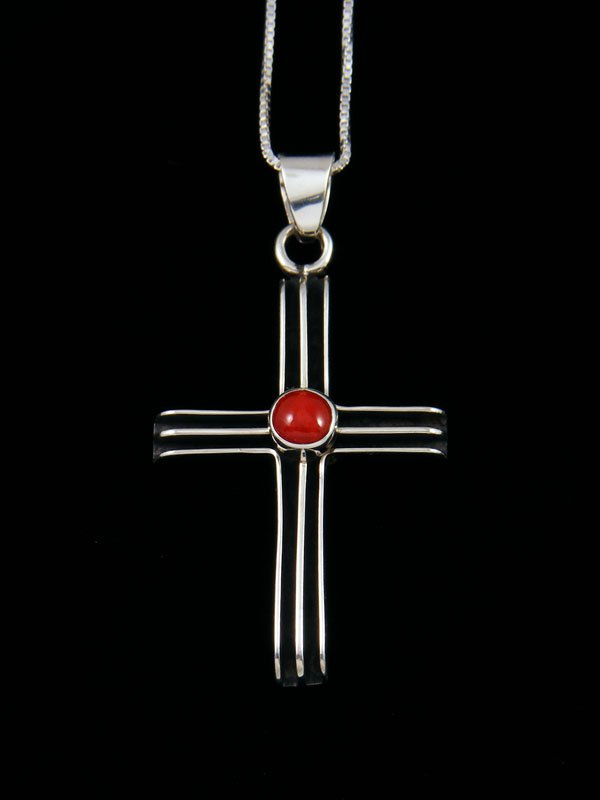 Navajo Sculpted Sterling Silver Coral Cross Pendant