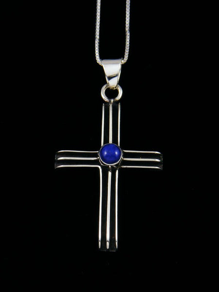 Navajo Sculpted Sterling Silver Lapis Cross Pendant