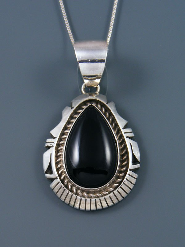 Native American Black Onyx Sterling Silver Pendant