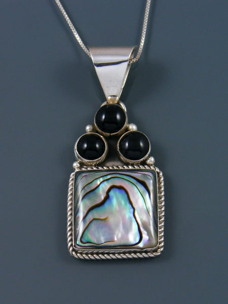Native American Abalone and Onyx Sterling Silver Pendant