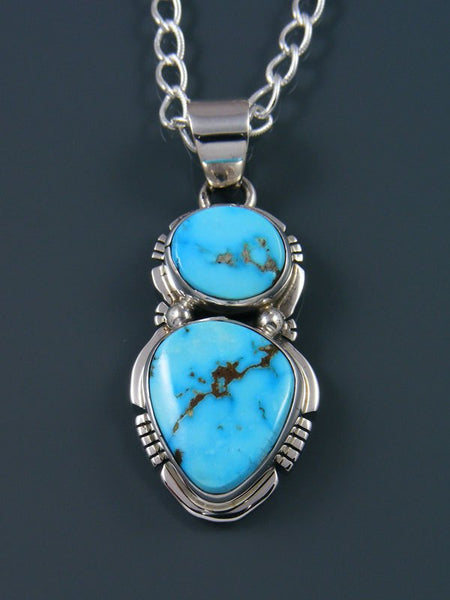 Native American Blue Bird Turquoise Sterling Silver Pendant