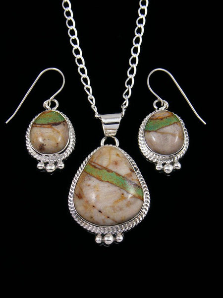 Boulder Turquoise Navajo Sterling Silver Necklace and Earrings Set
