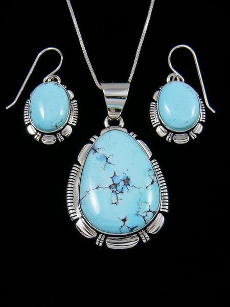 Sterling Silver Natural Golden Hill Turquoise Navajo Pendant and Earring Set