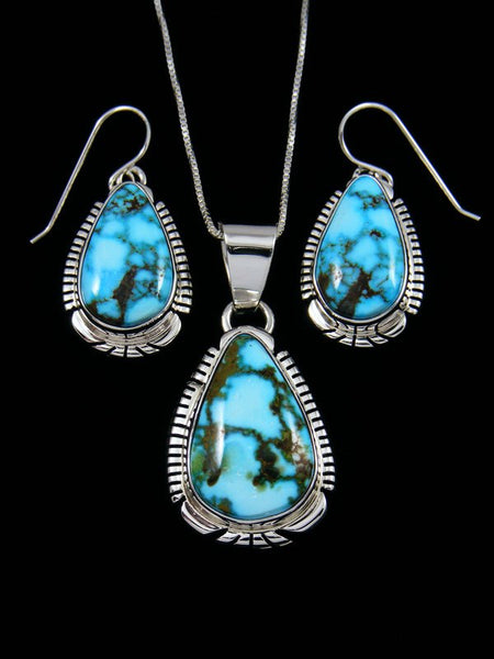 Native American Sterling Silver Kingman Redweb Turquoise Pendant and Earring Set