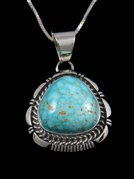 Native American Sterling Silver #8 Turquoise Pendant