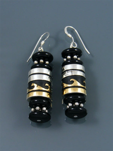 Navajo Black Onyx Dangle Earrings