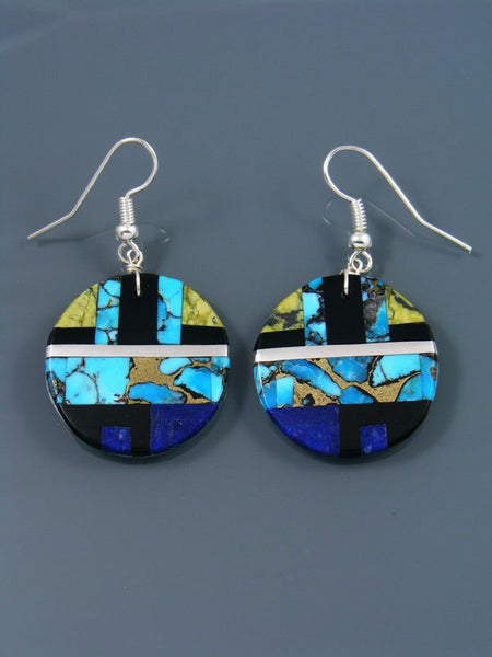 Multistone Santo Domingo Inlay Dangle Earrings