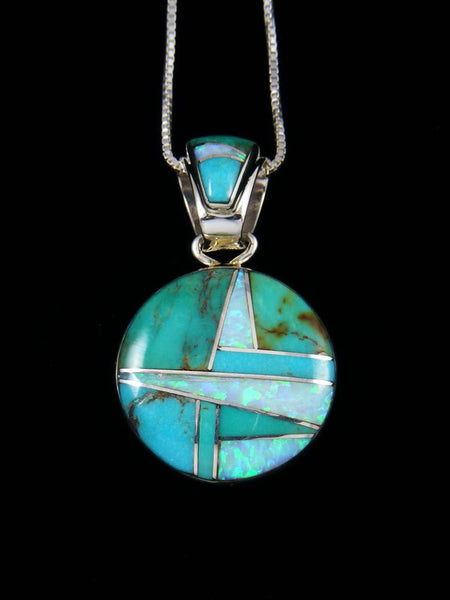 Native American Turquoise and Opalite Inlay Pendant