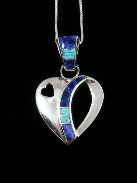 Navajo Inlay Sterling Silver Lapis Heart Pendant