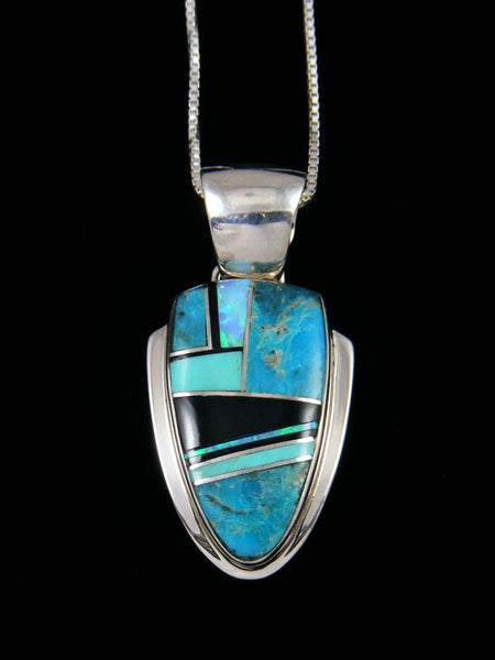 Native American Turquoise, Black Jade and Opalite Inlay Pendant