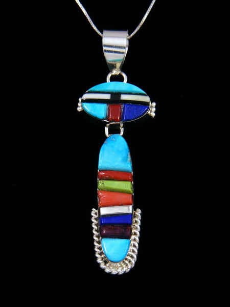 Navajo Sterling Silver Turquoise and Lapis Yei Inlay Pendant