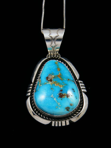 Sonoran Rose Turquoise Navajo Sterling Silver Pendant