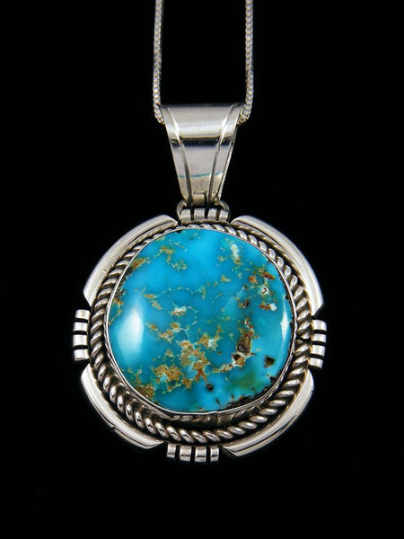 Natural Royston Turquoise Navajo Sterling Silver Pendant