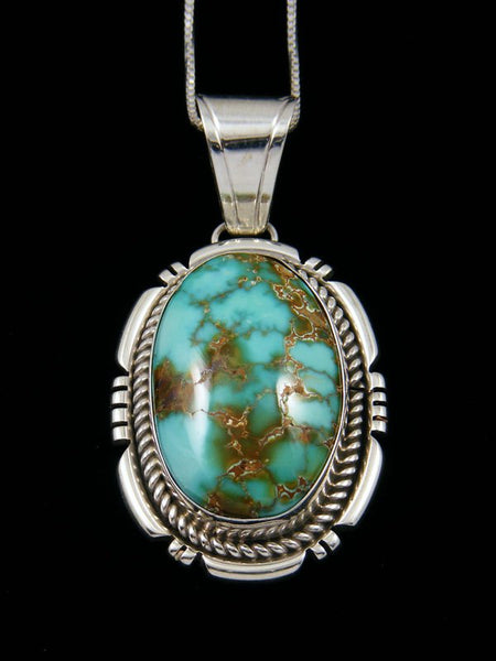 Natural Carico Turquoise Navajo Sterling Silver Pendant