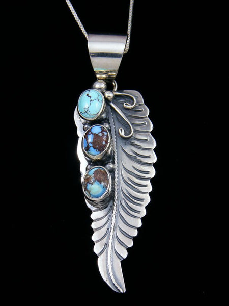 Native American Golden Hill Turquoise Sterling Silver Feather Pendant