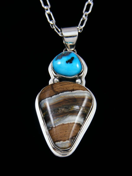 Native American Indian Jewelry Fossilized Mammoth Tooth and Turquoise Pendant