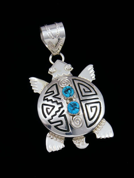 Native American Sterling Silver Turquoise Turtle Pendant
