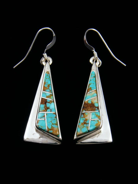 Navajo Turquoise Inlay Dangle Earrings