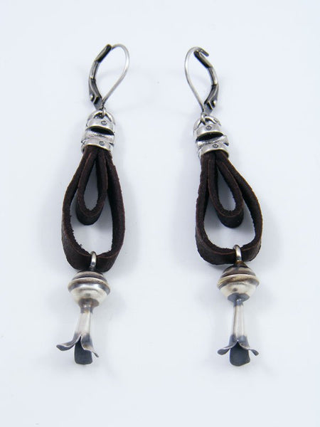 Navajo Sterling Silver Earrings with Flute