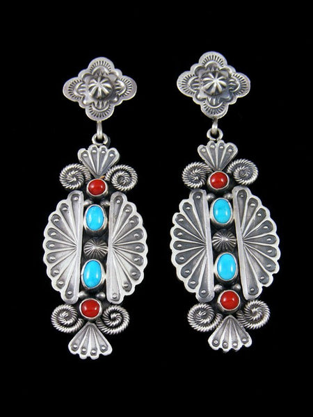 Navajo Sterling Silver Turquoise and Coral Post Earrings