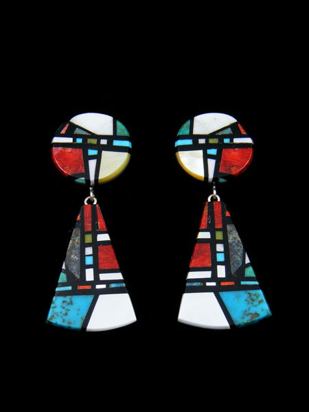 Santo Domingo Mosaic Inlay Post Turquoise and Coral Earrings