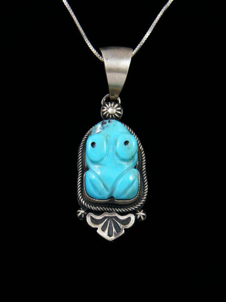Native American Sterling Silver Turquoise Carved Frog Pendant