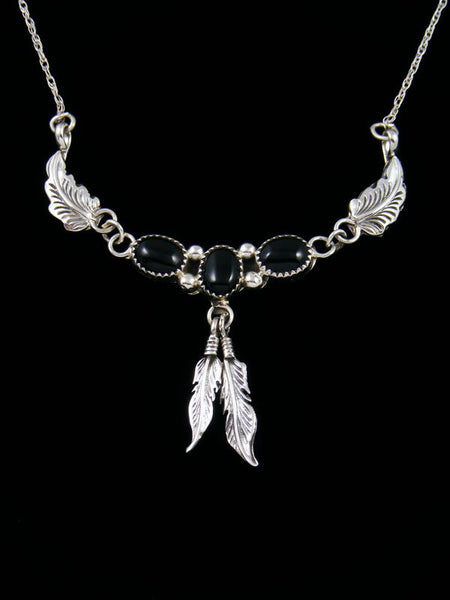 Navajo Sterling Silver Onyx Feather Necklace