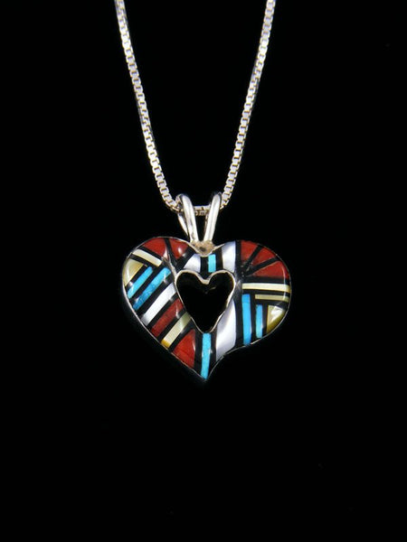 Native American Turquoise and Coral Zuni Inlay Heart Pendant