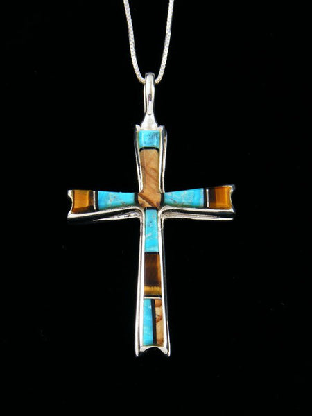 Sterling Silver Navajo Tiger Eye and Turquoise Cross Inlay Pendant