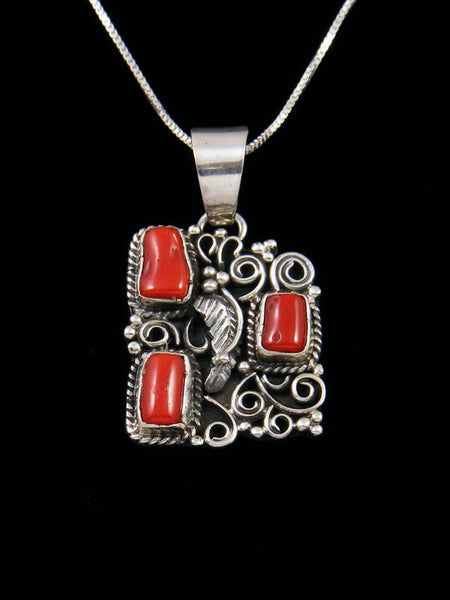 Native American Necklace Coral Pendant