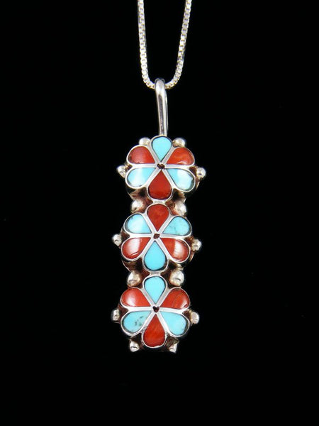 Turquoise and Coral Flower Sterling Silver Zuni Pendant