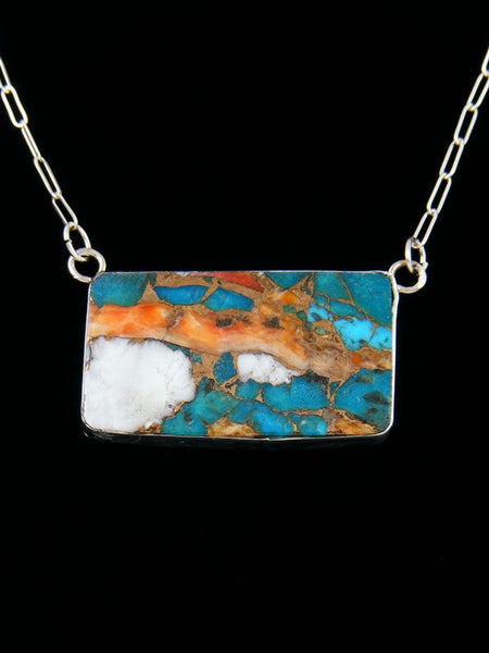 Native American Indian Jewelry Turquoise and Spiny Oyster Bar Necklace