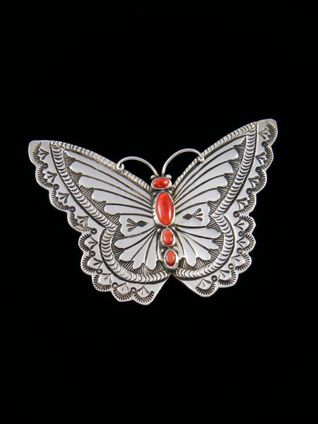 Native American Spiny Oyster Butterfly Sterling Silver Pendant
