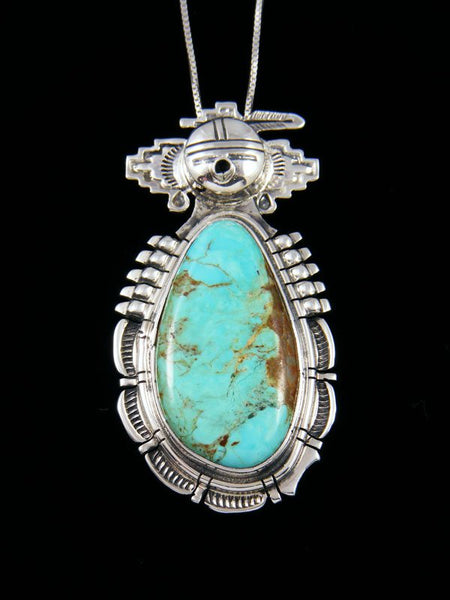 Native American Sterling Silver Turquoise Kachina Pendant